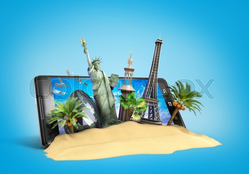 Stock image of 'Concept of travel landmarks look out for the phone screen online ordering vouchers beautiful background for Camping & Outdoor theme 3d illustration on blue'