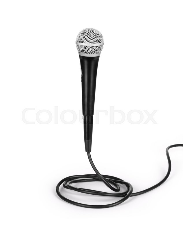 Stock image of 'Silver microphone with black wire isolated on white'