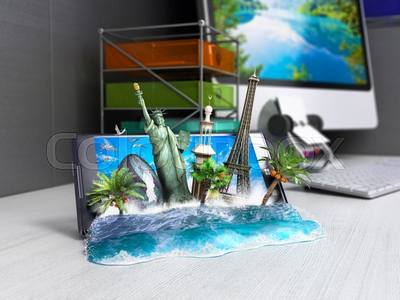 Stock image of 'Concept of travel, landmarks look out for the sea wave the phone screen on worck table, online ordering vouchers, beautiful background for Camping & Outdoor theme, 3d illustration'