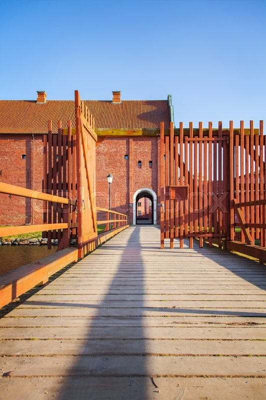 Stock image of 'Image of the a wooden foot bridge leading to the citadel in Landskrona, Sweden.  '