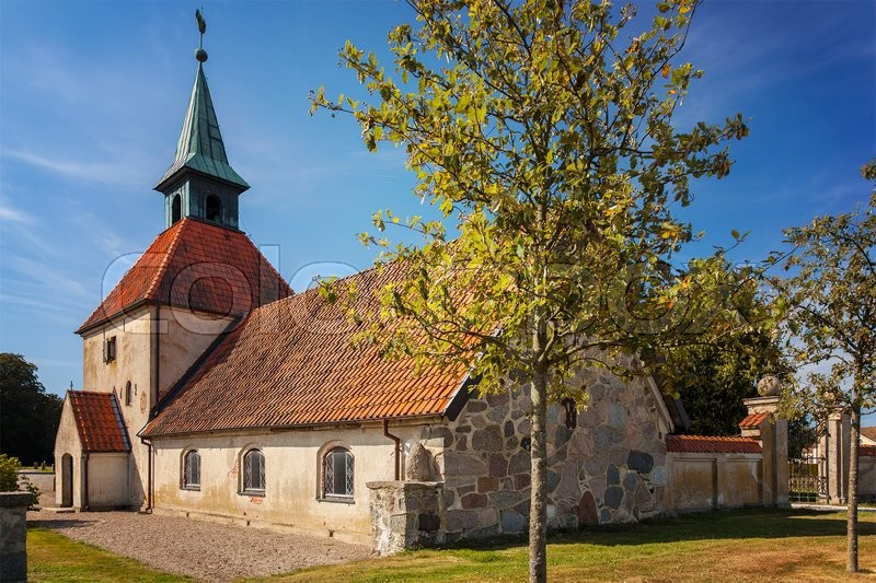 Stock image of 'Image of a small chapel in Loberod, Sweden. '