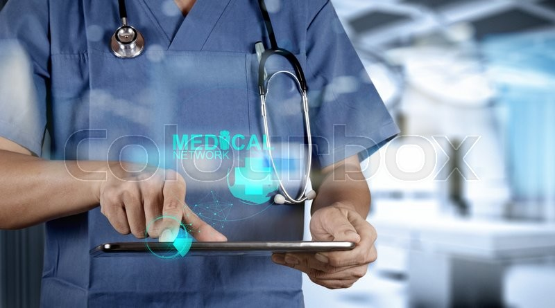 Stock image of 'double exposure of Medicine doctor hand working with modern computer interface as medical concept'