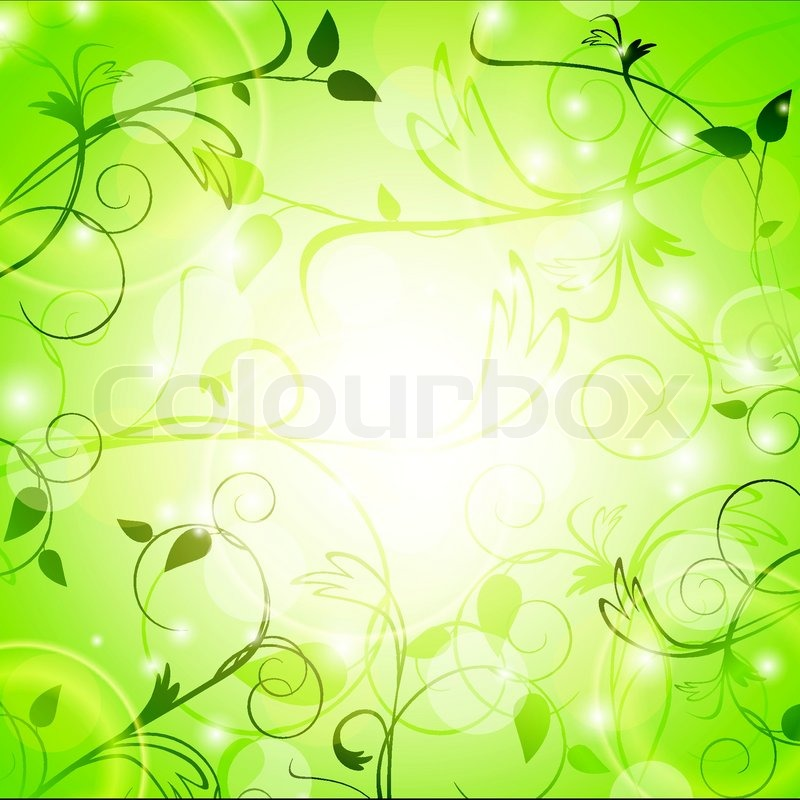 Light Green Floral Background With Swirls Stock Vector Colourbox