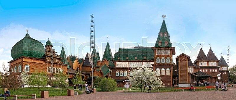 Editorial image of 'MOSCOW, RUSSIA - MAY 8, 2016: Kolomenskoe city park. Copy of the palace of the tsar Alexey Mikhaylovich Romanov. It is restored according to old drawings'