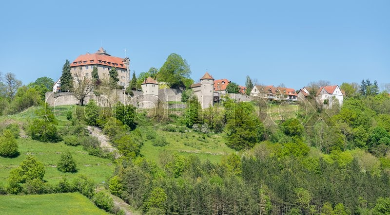 Stock image of 'idyllic spring time scenery in Hohenlohe including the Stetten castle in Southern Germany'