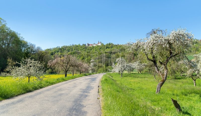 Stock image of 'idyllic spring time scenery in Hohenlohe including a small town named Langenburg in Southern Germany'