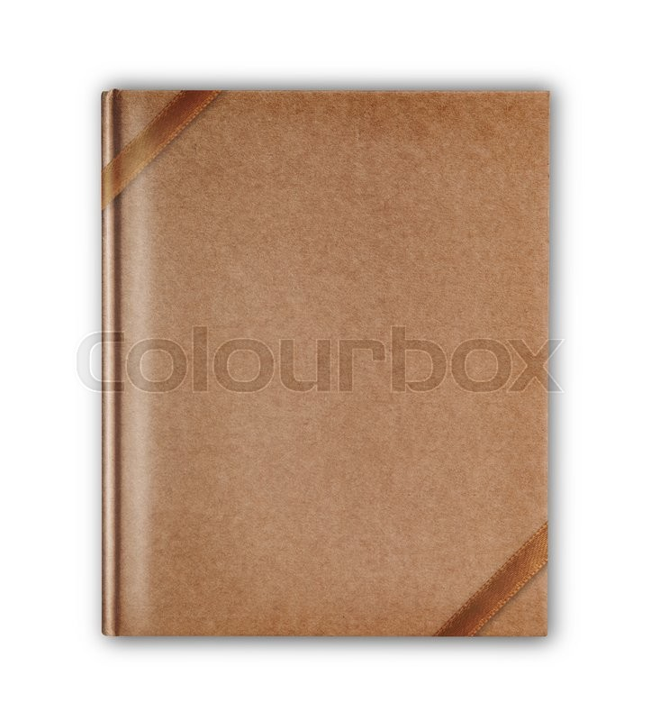Stock image of 'Cover old style recycle brown notebook isolated with brown ribbon on white background'