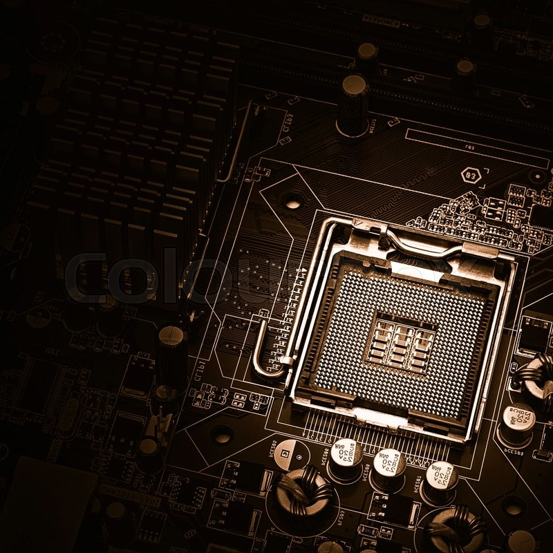 Stock image of 'image of the motherboard without a PC processor closeup, Blue tone and light effect'