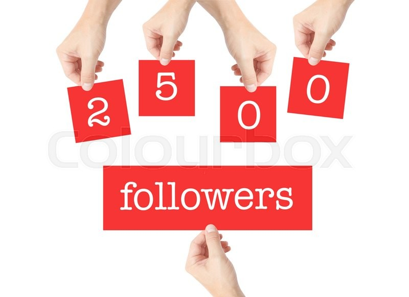 Stock image of '2500 followers written on cards held by hands'