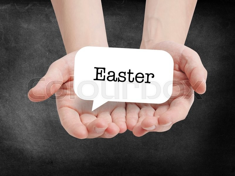 Stock image of 'Easter written on a speechbubble'