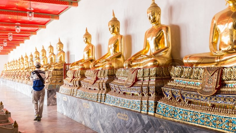 Stock image of 'Tourists at the temple of Buddha Attractions in Bangkok Buddha in a temple'