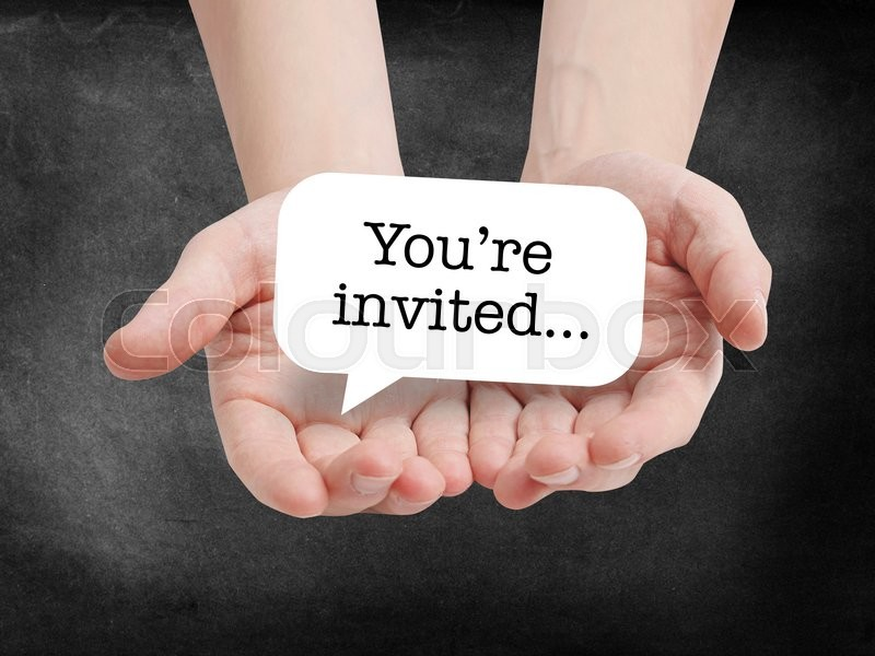 Stock image of 'You're invited written on a speechbubble'