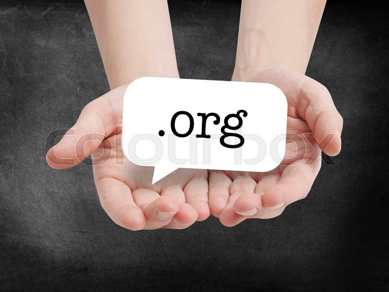 Stock image of 'Dot org written on a speechbubble'