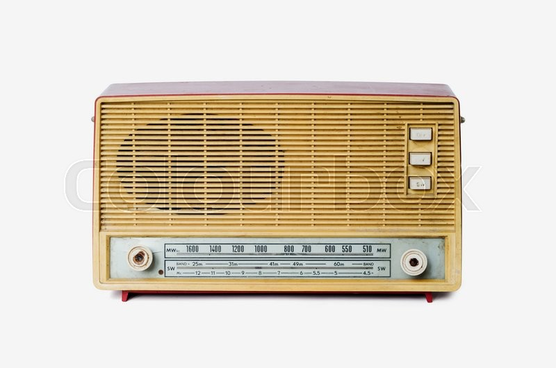 Stock image of 'Old dusty radio from 1970 isolated on white background, retro style'