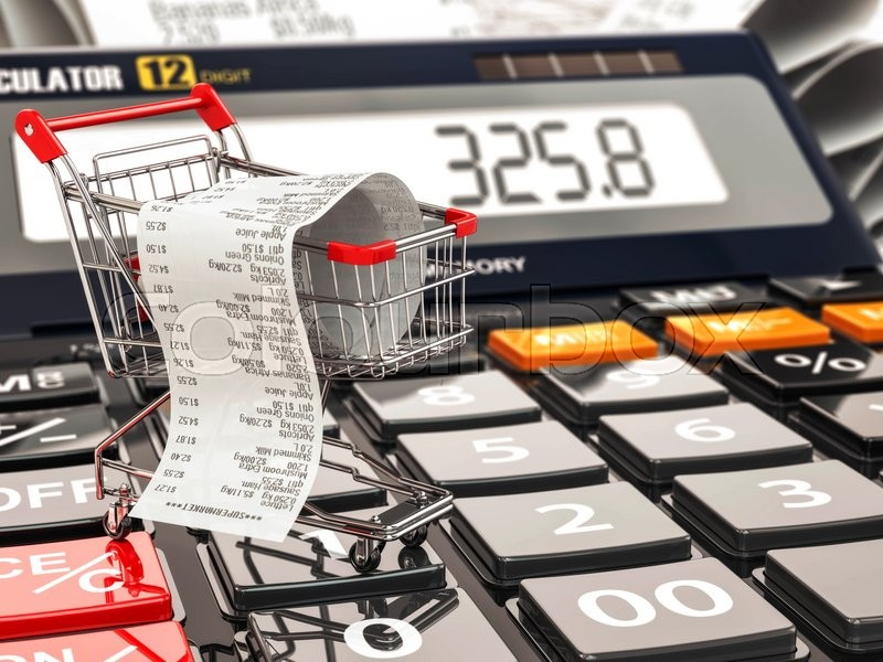 Stock image of 'Shopping cart on calculator and receipt. Home budget or consumerism concept. 3d'
