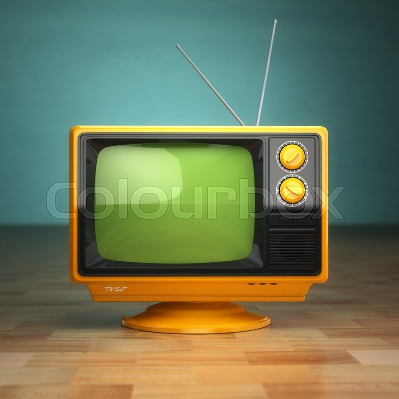 Stock image of 'Retro vintage tv on green background. Television concept. 3d'