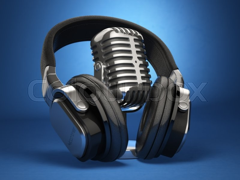 Stock image of 'Vintage microphone and headphones on blue background. Concept audio and studio recording. 3d'