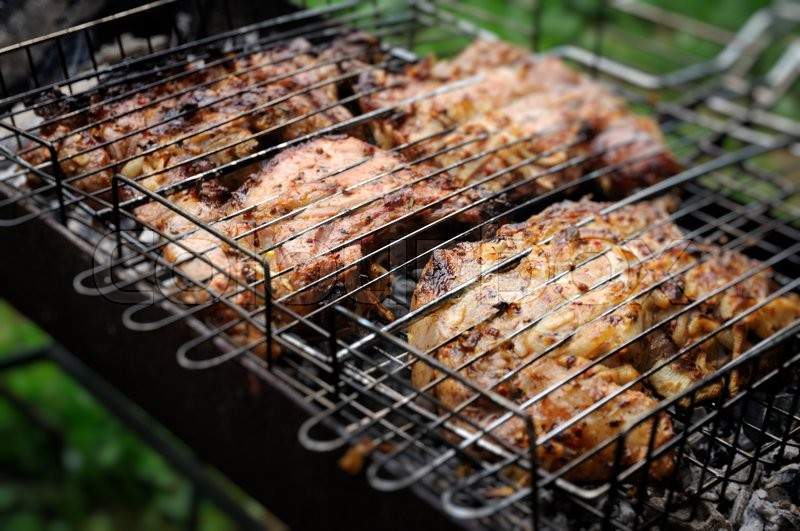 Stock image of 'Delicious meat bbq on grill. '