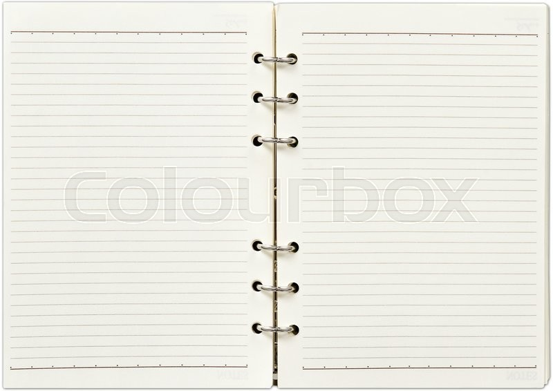 Stock image of 'Blank open notebook'