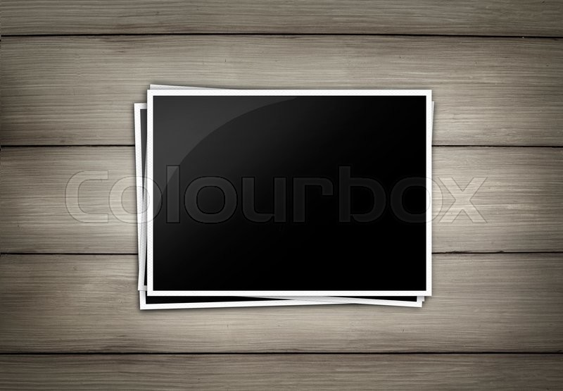 Stock image of 'Wood plank brown texture background with photo frame isolate'