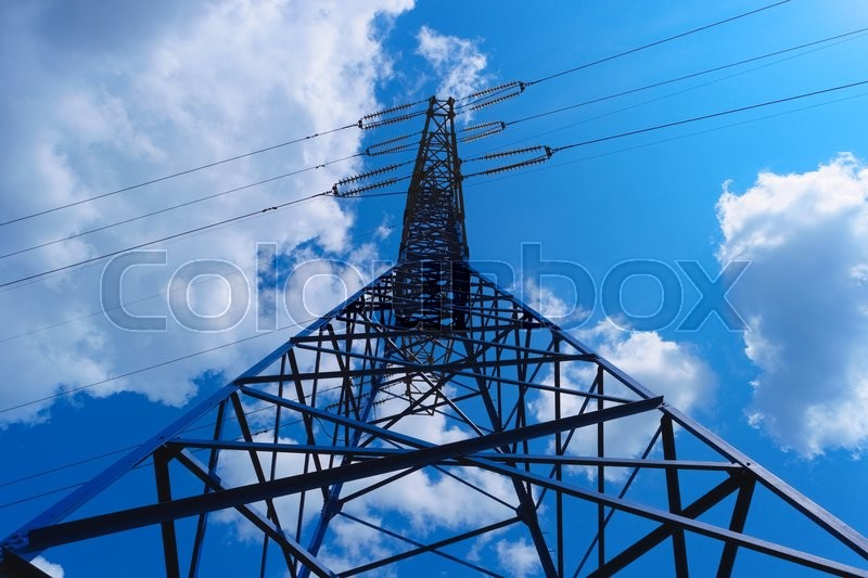 Stock image of 'Power line tower on blue sky background'