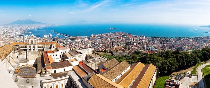 Stock image of 'Panoramic view of Naples city, Gulf of Naples and Mount Vesuvius on the background, Campania province, Italy'