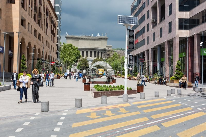 Editorial image of 'YEREVAN, ARMENIA-MAY 02:North Avenue in Yerevan on May 02, 2016. It`s pedestrian street in Yerevan. Many apartment houses, offices, shops and restaurants are located in this avenue'