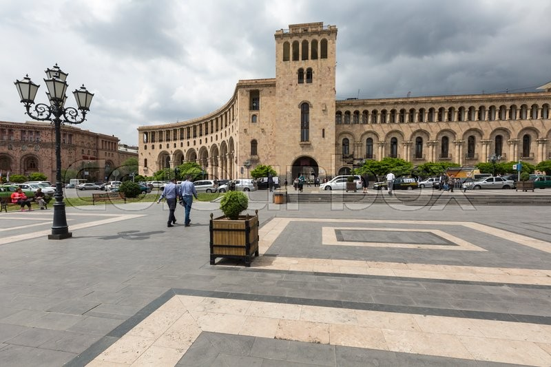 Editorial image of 'YEREVAN, ARMENIA-MAY 02: Republic Square and Ministry of Foreign Affairs of Armenia on May 02, 2016. Building is located in center of Yerevan. It was erected in the 40s. XX century'