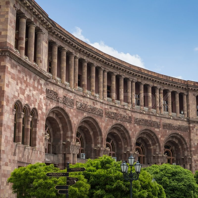 Editorial image of 'YEREVAN, ARMENIA - MAY 2, 2016: The Government House. Holds the main offices of the Government of Armenia. Located on Republic Square , the large central town square in Yerevan, Armenia'