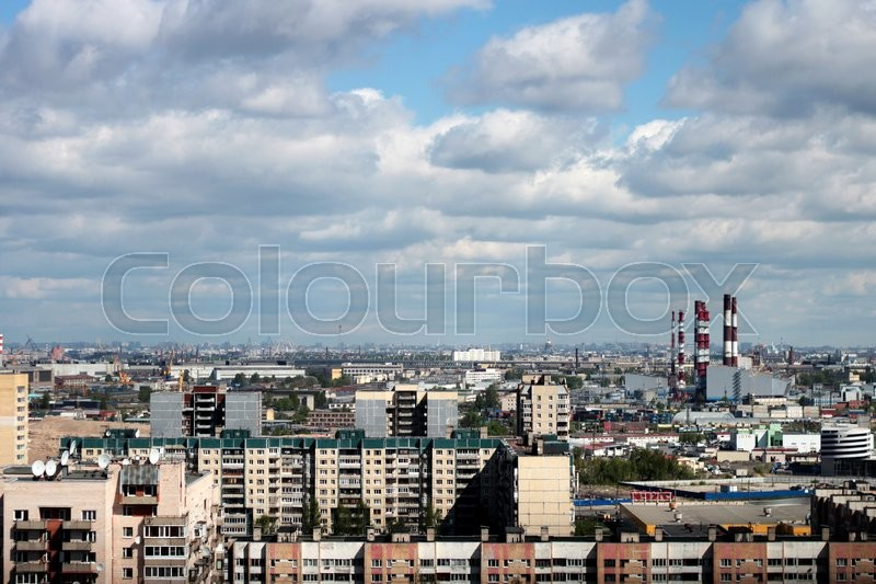 Stock image of 'the roof of the big city on a background of blue sky'