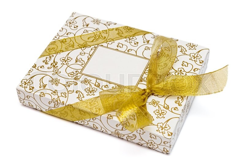 Stock image of 'Gift box with gold ribbon and bow isolated on white background'
