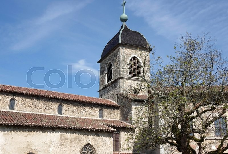 Stock image of 'Old stone house at medieval village Perouges in France'