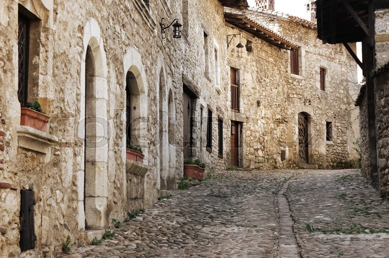 Stock image of 'Old stone houses at medieval village Perouges in France'