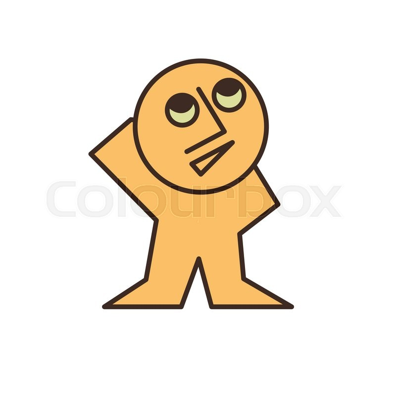 funny yellow man looking up simple cartoon character vector design vector - Simple Cartoon Pics