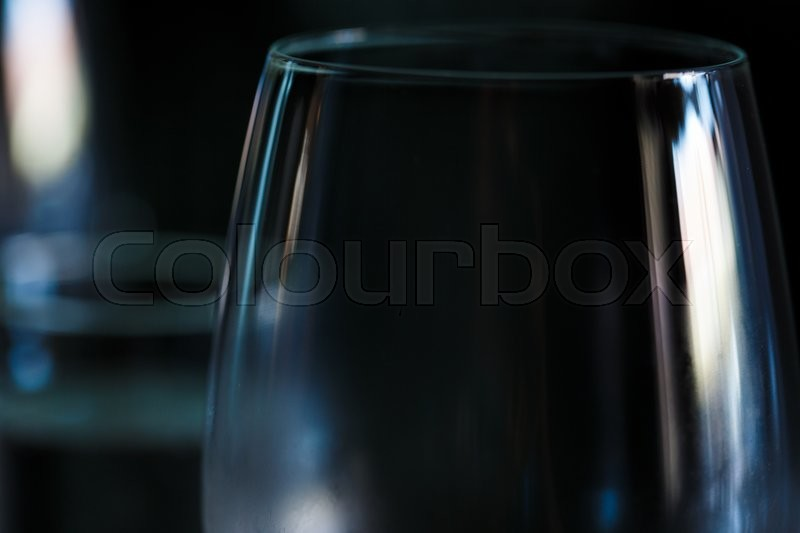 Stock image of 'Transparent wine glass in restaurant macro view '