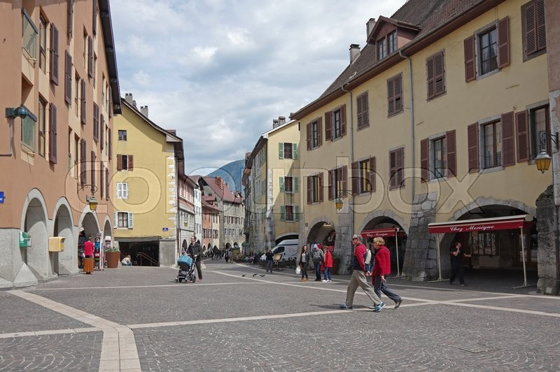 Editorial image of 'ANNECY, FRANCE - 29 APRIL, 2015: View of the street in city centre of Annecy, capital of Haute Savoie province in France. Annecy is known to be called the French Venice'