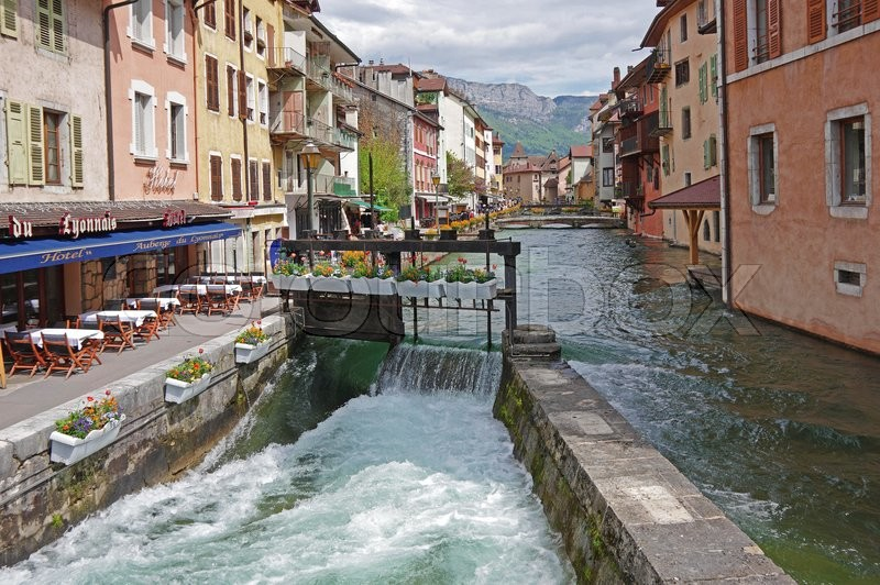 Editorial image of 'ANNECY, FRANCE - 29 APRIL, 2015: View of the canal in city centre of Annecy, capital of Haute Savoie province in France. Annecy is known to be called the French Venice'