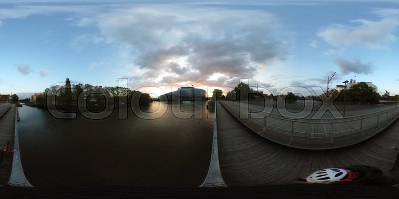 Stock image of '360 VR image of European Parliament and European Court of Human Rights at dusk in strasbourg, France '