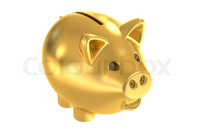 Stock image of 'Golden piggy bank, 3D rendering isolated on white background'