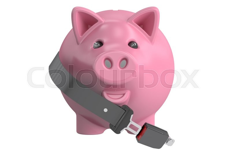 Stock image of 'Piggy bank with safety belt, 3D rendering isolated on white background'