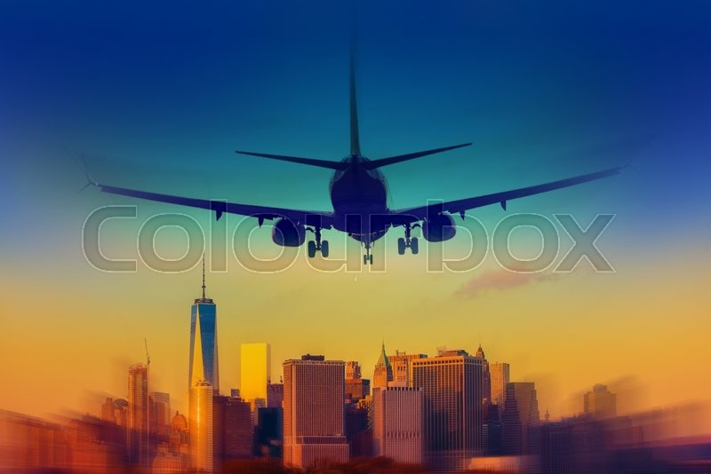 Stock image of 'New York City Destination Abstract Concept. Landing Airplane in the New York.'