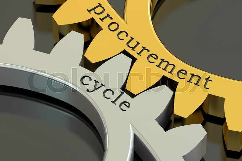 Stock image of 'Procurement Cycle concept on the gearwheels, 3D rendering'