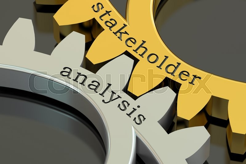 Stock image of 'Stakeholder analysis concept on the gearwheels, 3D rendering'