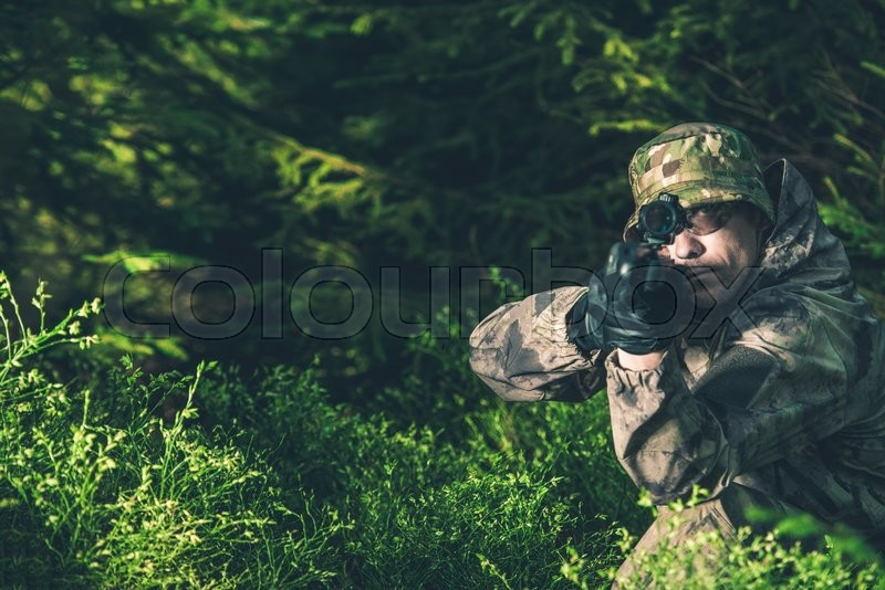 Stock image of 'Forest Hunter. Poacher with Rifle Spotting Some Deers.'
