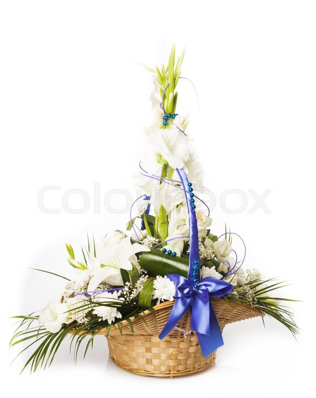 Stock image of 'Bouquet from mixed white flowers in basket isolated'