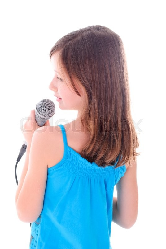 Stock image of 'Girl is singing a song. Isolated on white'