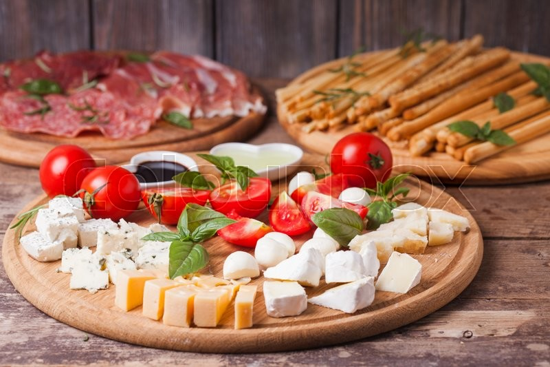 Stock image of 'The Italian appetizer - various types of cheese'