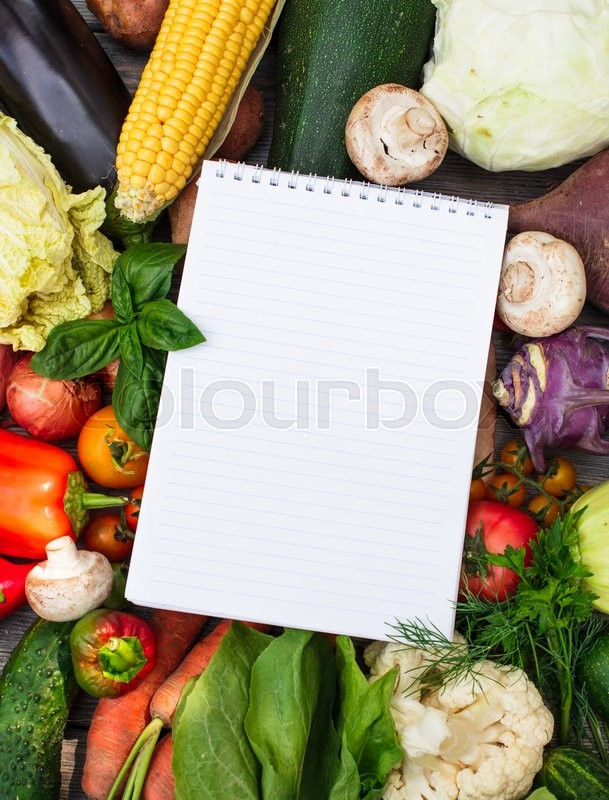 Stock image of 'Shopping list on the vegetables with copy space'