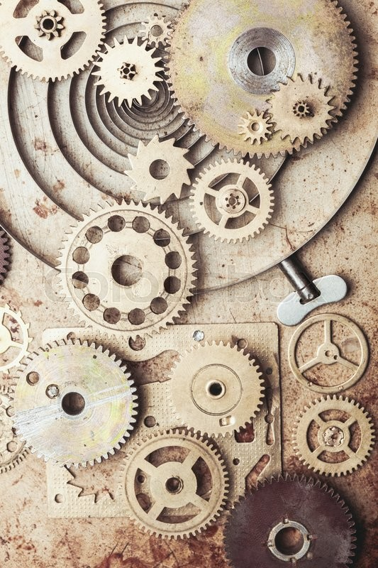 Stock image of 'Steampunk background from mechanical clocks details over old metal background. Inside the clock, gears'