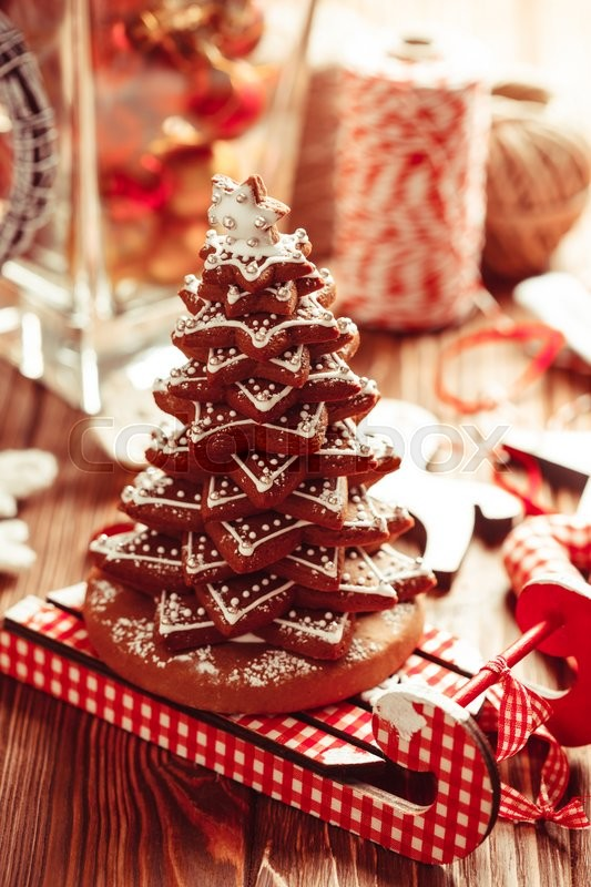 Stock image of 'Christmas decorations. Christmas tree from gingerbread cookies'